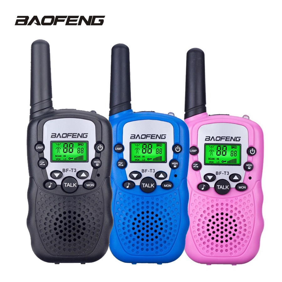 2Pcs Baofeng Mini Walkie Talkie Kids Radio Portable 2W Two Way Radio Handheld Children Transceiver Toys Radio Gift T3 BF-T3