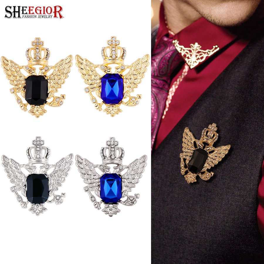 Sheegior Lovely Crystal Crown Collar Brooches For Women