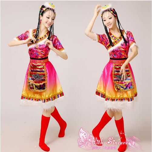 (0141) Adult Tibetan Dance Wear Short Sleeved Long Sleeves Ethnic Minority Brival Children National Drum Dance Costumes