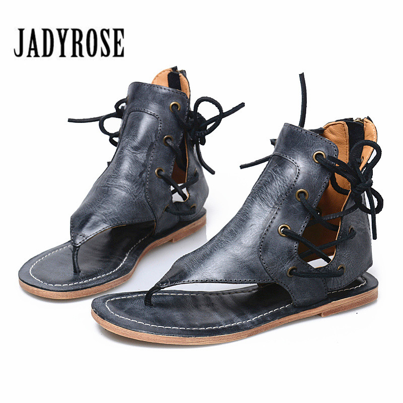 Jady Rose Retro Flip Flops Genuine Leather Women Gladiator Sandals Casual Beach Shoes Woman Lace Up Flats Sandalia Feminina mabaiwan new women genuine leather gladiator sandals flip flops rope fringe lace up flats shoes woman casual beach zapatos mujer