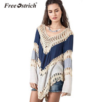 Free Ostrich Bohemian Fashion Hollow Out Women Sweater Full Sleeve Patchwork V-Neck Pullovers Ladies Sweater