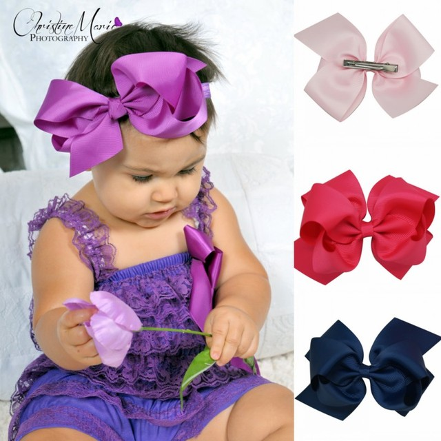 6 Inch Big Bow Hair Bows With Clip Hairbow Headwear Boutique Bows
