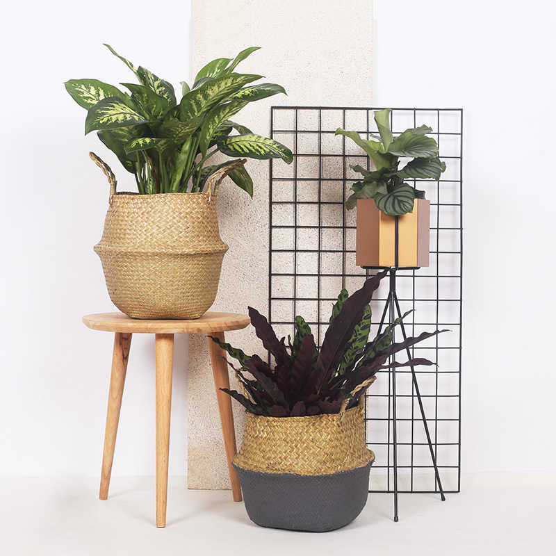 WHISM Foldable Hanging Rattan Flower Pot Basket Handmade Seagrass Wicker Plant Pot Planter Vase Modern Flowerpot Home Decorative