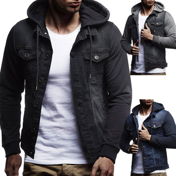 FFXZSJ Brand 2019 spring and autumn new men's casual hooded denim jacket  Patchwork  Single Breasted  jean jacket men