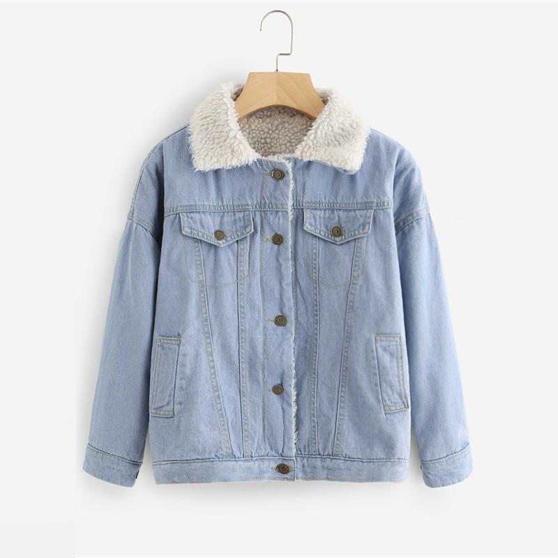 Faux Shearling Lined Denim Jacket For Women