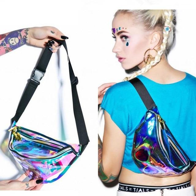High Quality Ride Travel Fashion Laser Transparent Waist Bag Bananka Travel Fanny Pack Women Walking Mountaineering Belly Bag