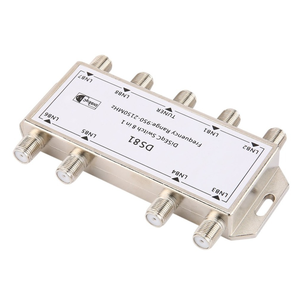 DS81 8 In 1 Satellite Signal DiSEqC Switch LNB Receiver Multiswitch Heavy Duty Zinc Die-cast Chrome Treated White