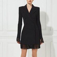 Женские облегающие черные тренчи Adyce, двубортные пальто с V-образным вырезом, клубные пальто с длинным рукавом и бахромой, лето