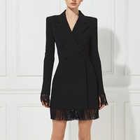Adyce 2019 New Summer Women Slim Trench Coats Black Deep V-Neck Double Breasted Coats Long Sleeve Tassel Fashion Club Coats