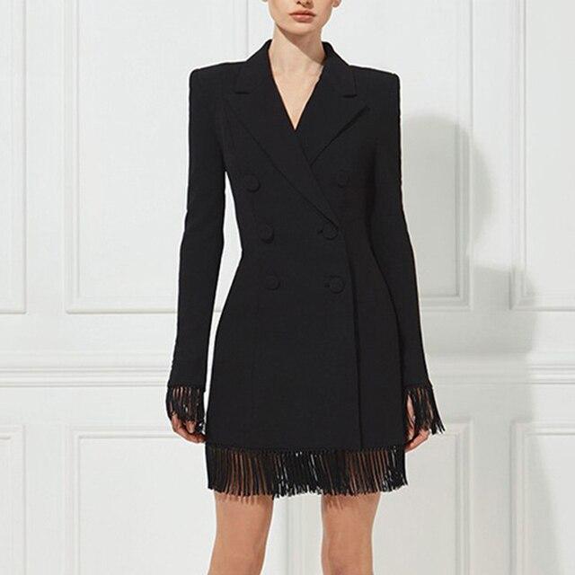 Adyce gabardina ceñida para mujer, abrigos negros con cuello en V profundo, abrigos de doble botonadura, abrigos de manga larga con borla a la moda para discoteca 2020