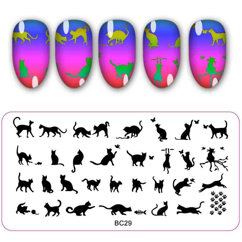 12 pcs lote template prego gato coroa projeto carimbar placas manicure nail art imagem da placa