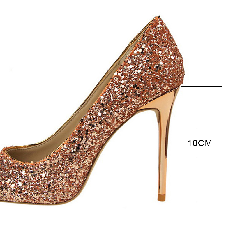 b31493c9fe Aliexpress.com : Buy LAKESHI Women Pumps Bling High Heels Sexy Prom Wedding  Shoes Women Shoes Pointed Toe Red Gold from Reliable women shoes pointed ...