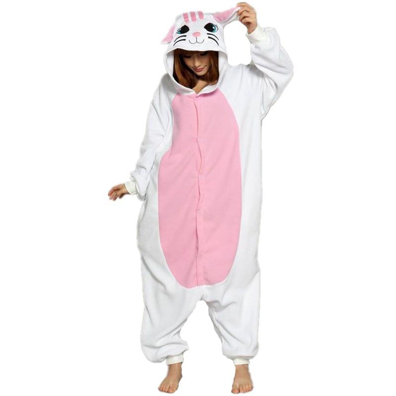 Cute White Cat Onesie Kigurumi Soft Animal Costume Women Jumpsuit For Adult Pyjamas Sleepwear Halloween Kitty Pajamas Cosplay1