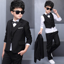Boys Black Blazer Wedding Suits for Boy Formal Dress Suit Boys Kids Page Outfits 5 pcs/set GH461 new boys black 2 pcs suit holy communion suit kids wedding page boy suits