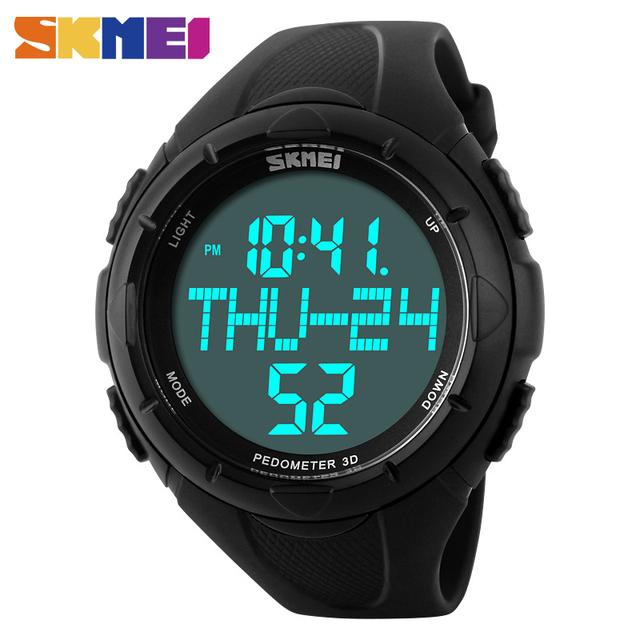 SKMEI 1122 Homens Novos dos Esportes Da Forma Militar Relógios Calorias Pedômetro Digital LED Relógios De Pulso Grande Dial Pulseira de Borracha