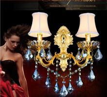 Золотая Хрустальная настенная лампа с двойной головкой с абажуром