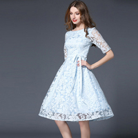 Top Quality Princess Dress Elegant Embroidery Evening Party Vestido O Neck Half Sleeve Bodycon Slim OL