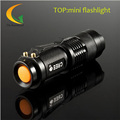 Mini Flash Waterproof LED flashlight Q5 7W 1200LM Adjustable Focus Zoom Torch telescopic baton