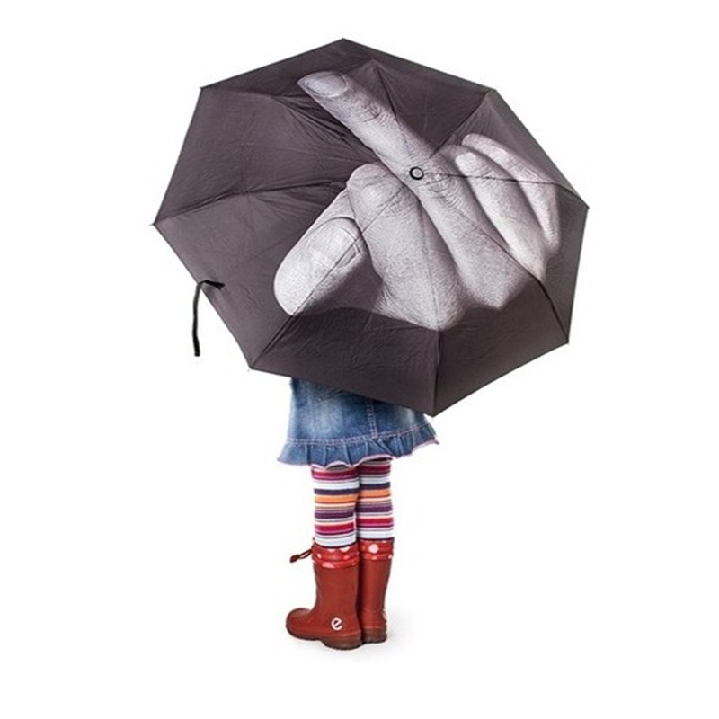 Folding Umbrella Middle Finger Sign Hand Opening Sun Protection Umbrella Black /…