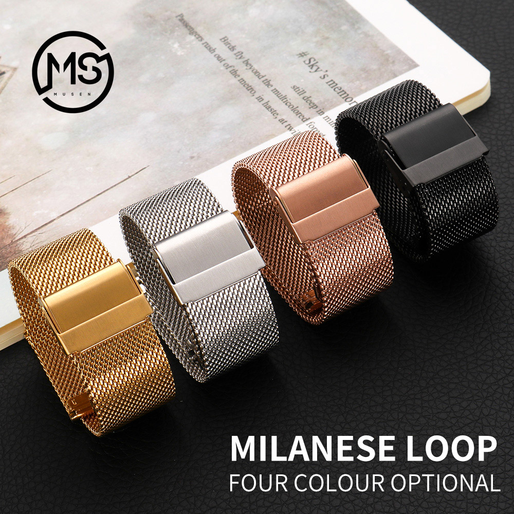 Milanese Watchband 18mm 20mm 22mm 24mm Universal Stainless Steel Metal Watch Band Strap Bracelet Black Rose Gold Silver MU SEN