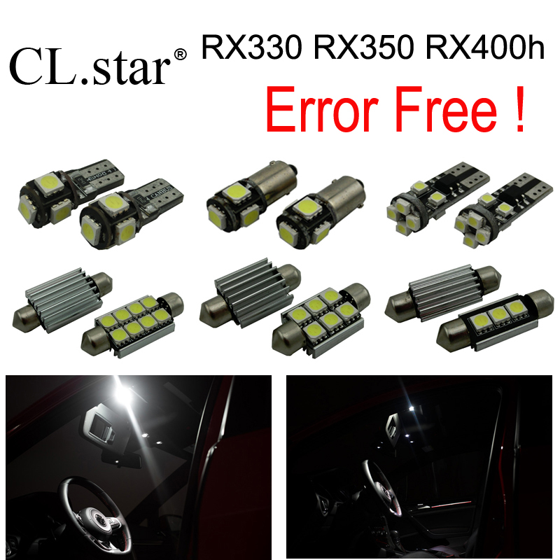 18pcs canbus error free Xenon white for Lexus RX330 RX350 RX400h LED lamp interior dome light kit  (2004-2009) 1pcs h16 fog light 6500k xenon white 1440lm led bulbs for car drl lamp with canbus decoder error free load resistors harness set