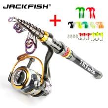 JACKFISH Spinning Fishing Rod Combo 1.8-3.6m Telescopic Fishing Rod + DK11BB Fishing Reel Wheel Portable Travel Fishing Rod