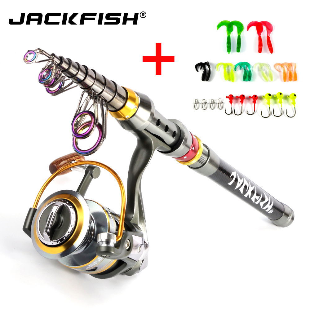 JACKFISH pescar hilado Combo 1,8-3,6 m caña de pescar telescópica + DK11BB carrete de pesca rueda portátil de viaje rod