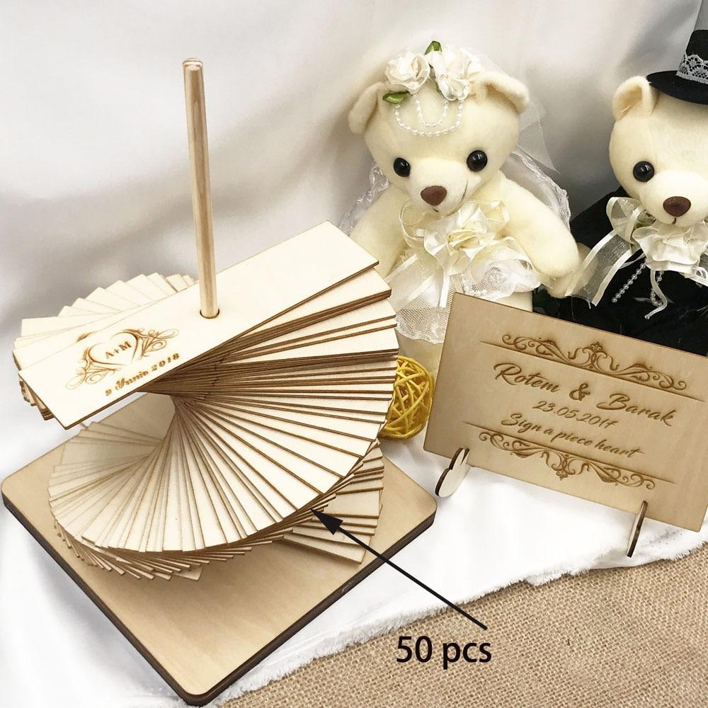 Custom Wedding Guest Book Personalised Drop Top Wedding Guestbook Album Personalized Wooden Guest Book Alternative