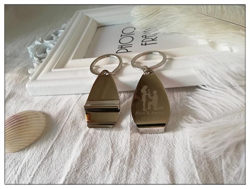 100pcs Lot Personalised Metal Keyring Keychain Beer Bottle Openers Personalized Wedding Favor