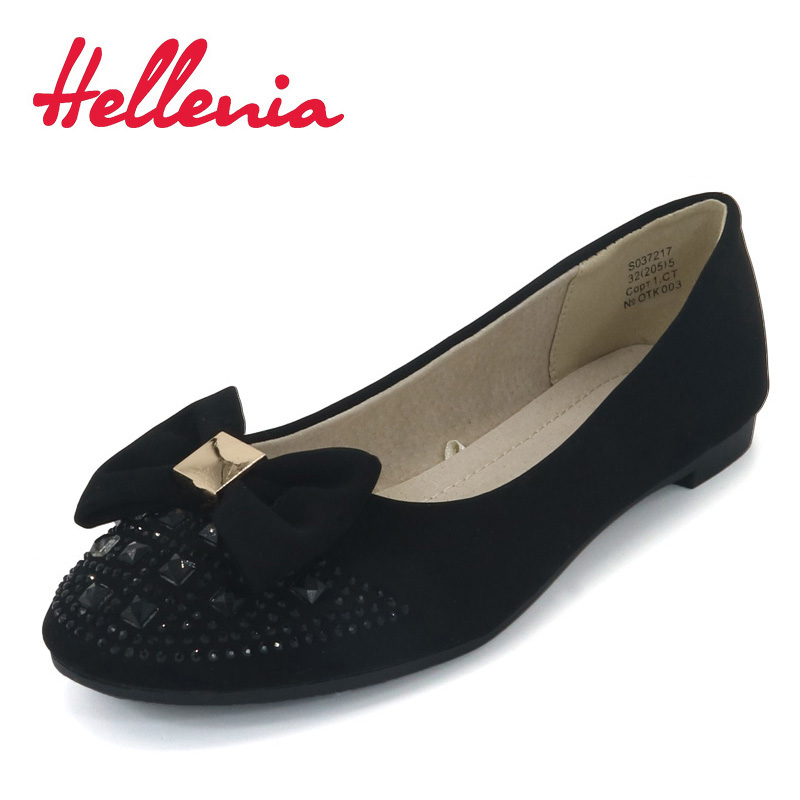 Hellenia School Student Shoes slip on Children Shoes girls uniform low square heels round toe black PU Leather flats size 32-36