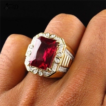Large Square Red Crystal Stone Mens Ring in Cross Design Gold Tone Stainless Steel Signet Rings Modern Men Jewelry A35