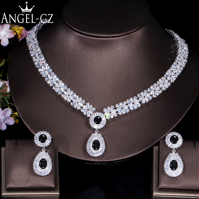 ANGELCZ Luxury Cubic Zirconia Bridal Jewelry Vintage Nigerian Black Crystal Stone Wedding Necklace Earrings Sets For