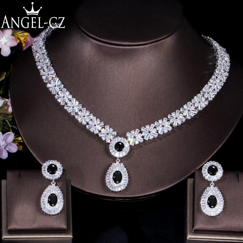 ANGELCZ luxe cubique zircone bijoux de mariée Vintage nigérian noir cristal pierre collier de mariage boucles d'oreilles ensembles pour femme AJ089