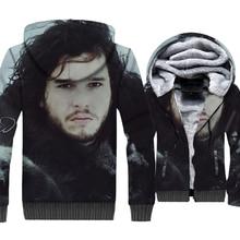 55d50c3a81790 Casa Stark Jon nieve Juego de tronos 3D chaqueta de los hombres de invierno  de 2019 hombres gruesos con capucha Plus tamaño suda.