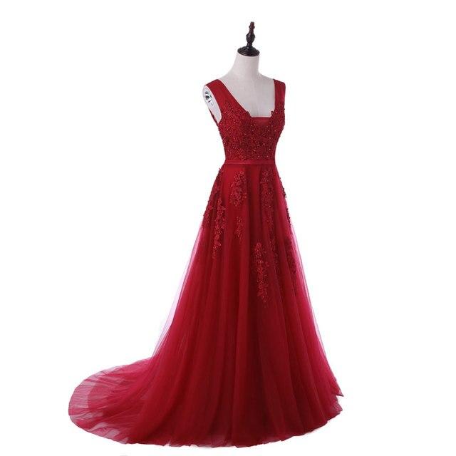 New arrival sexy party evening dresses Vestido de Festa A-line prom dress lace beading Robe De Soiree V-neck dress with Zipper 5