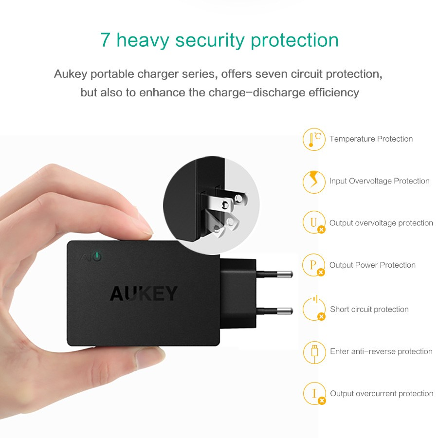 Aukey Usb Charger 4 Ports Eu Us Plug Travel Wall Adapter Universal Circuit Diagram Mobile Phone For Xiaomi Redmi 4x Samsung Galaxy S8 S7 In Chargers