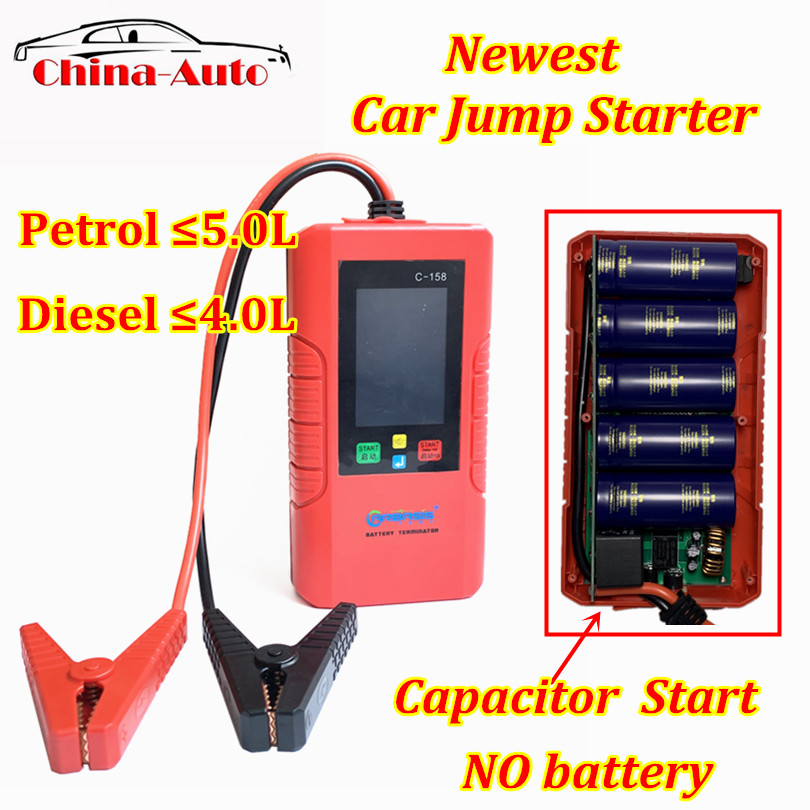 Newest C-158 Car Jump Starter no battery Capacitor Start Car Power Bank Unlimited Use C158 Battery Power For Petrol/diesel(China)