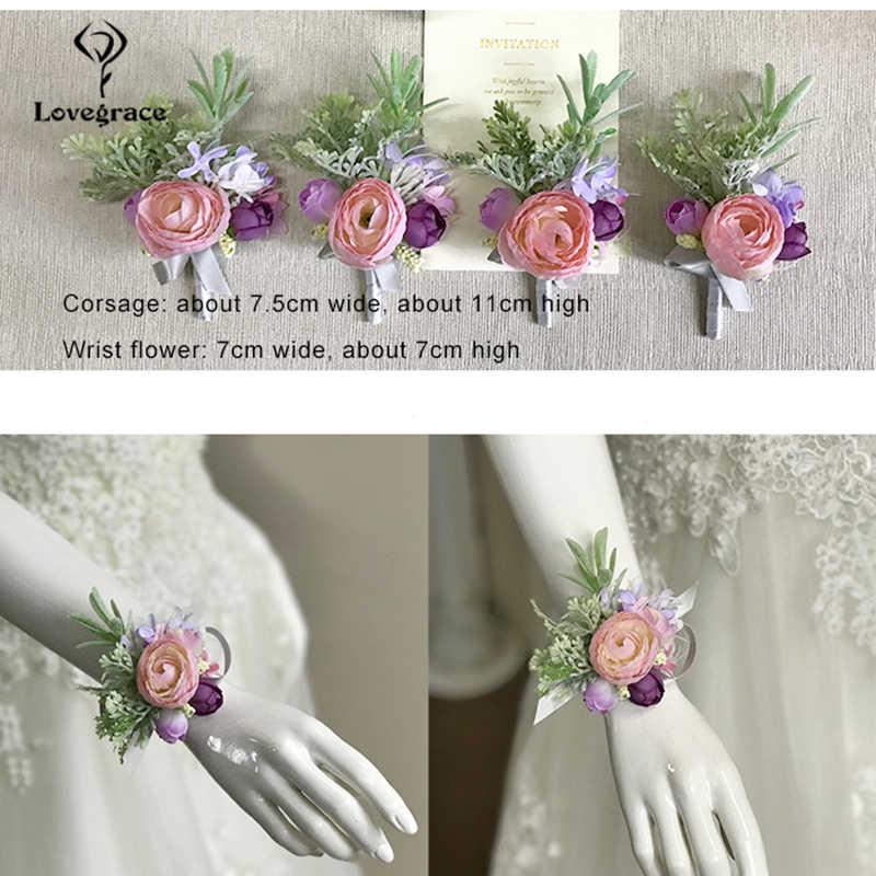 Lovegrace 結婚式のブーケブローチ結婚式コサージュや Boutonnieres ブローチ結婚式新郎ボタンホール弾性シルク手首の花
