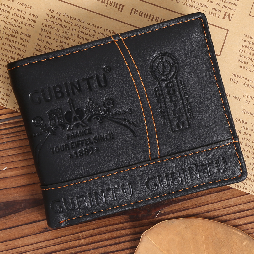GUBINTU Men short wallet High-quality multi-functional fashion purse PU male luxury brand black zipper card holder D3104-1 moana maui high quality pu short wallet purse with button