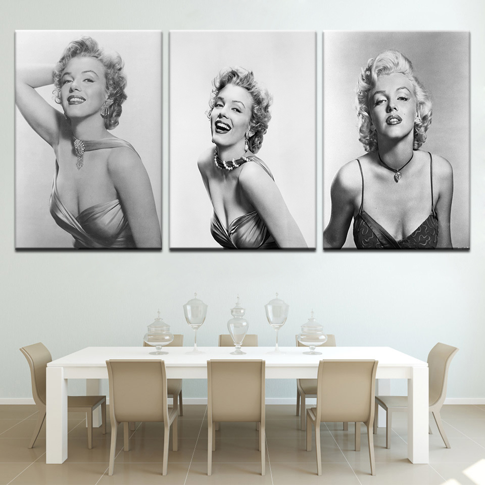 BLACK WHITE MARILYN MONROE PORTRAIT CANVAS WALL ART PICTURE HOLLYWOOD STAR PRINT