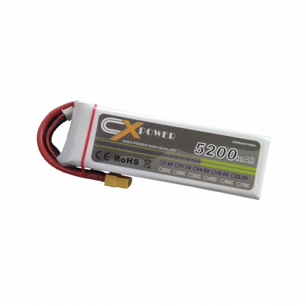 XT60 Plug 11.1 V 5200 mAh LiPo batterie 3 S 30C pour RC quadrirotor Drone hélicoptère voiture avion jouet partie