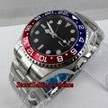 43 мм сапфировое стекло черный циферблат GMT автоматические мужские часы P08