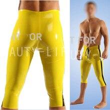 Fetiche de látex pantalones Sexy Capri pantalones para hombre Legging recortada más la personalización hechos a mano 100% Free Express(China (Mainland))