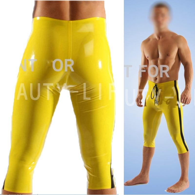 Latex fétiche pantalon Sexy Capri pantalon pour hommes Legging recadrée grande taille personnalisation 100% naturel fait à la main