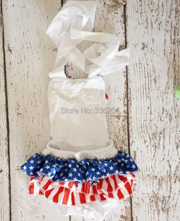 009e8290258e 4th of July baby girl outfit baby bubble romper red white blue chiffon stars  and stripes