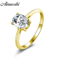 AINUOSHI Classic Oval Solitaire Ring 14K Solid White/Yellow Gold Band 4 Claws 1.25 CT SONA Diamond Wedding Engagement Women Ring