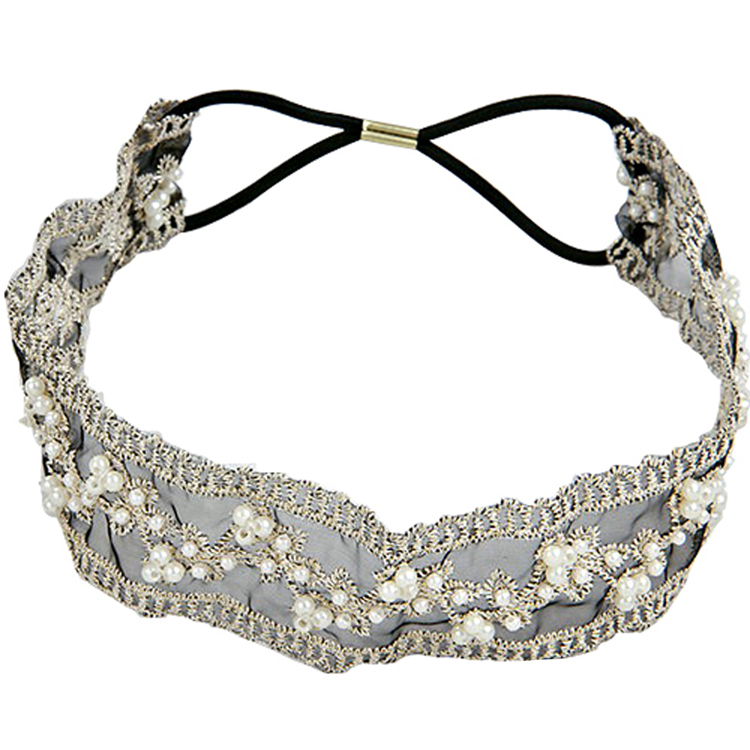 2016 Lace Beads Hairband Color Black Womens Headdress