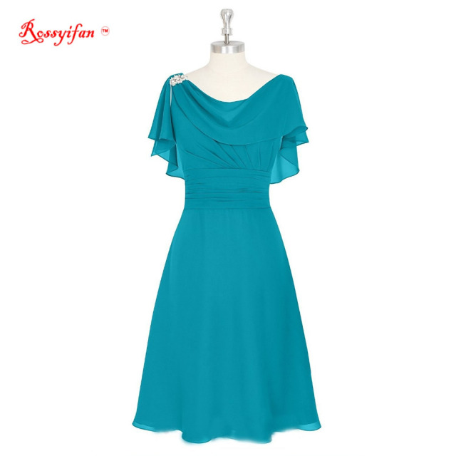 Rossyifan Short Prom Dresses Chiffon Cowl Neck Mother Bridesmaid