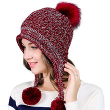 d0c875118a563 Bomber Hats women knitting Caps Double layer design With Hairball Earflaps  hat 2018 Thick Warm Winter