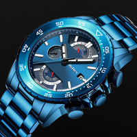 Fashion Blue Watch Men 2019 Sports Quartz Clock Mens Watches Top Brand Luxury Business Full Steel Chronograph Waterproof Watch